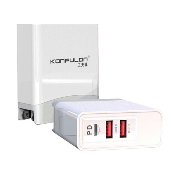 Konfulon C56Q 2 USB Type-C 3.0 Quick PD 30W Seyahat Şarj Cihazı