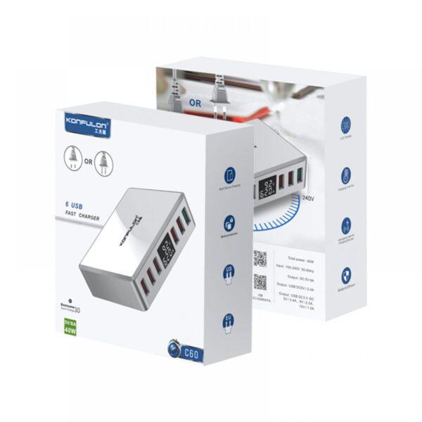 Konfulon C60 6 USB 3.0 Quick 40W Dijital Şarj Cihazı