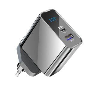 Konfulon C65Q Type-C USB 3.0 Quick PD 20W Dijital Seyahat Hızlı Şarj Cihazı - Siyah