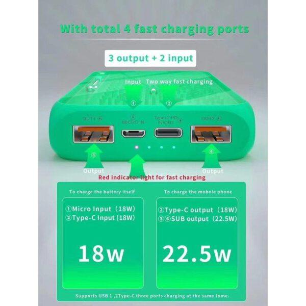 Konfulon A17Q Powerbank 10.000 mAh 22.5W PD Hızlı Şarj - Yeşil