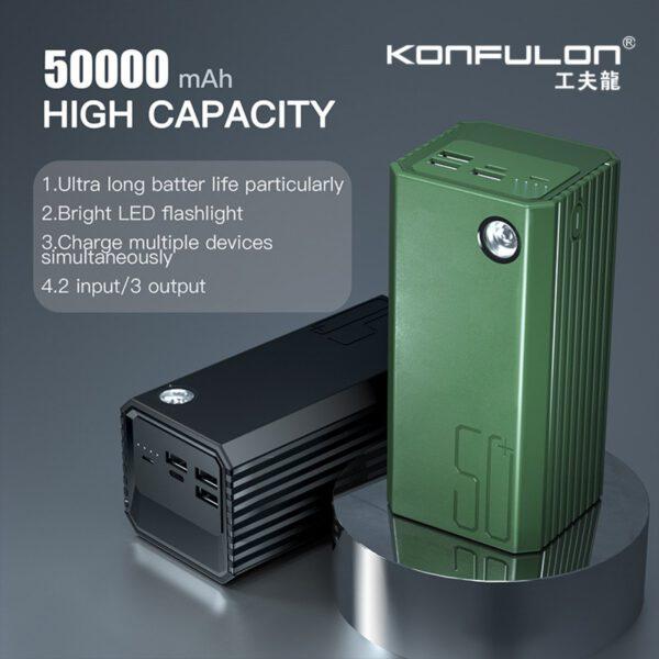 Konfulon A22 Led Işıklı Powerbank 50.000 mAh - Siyah