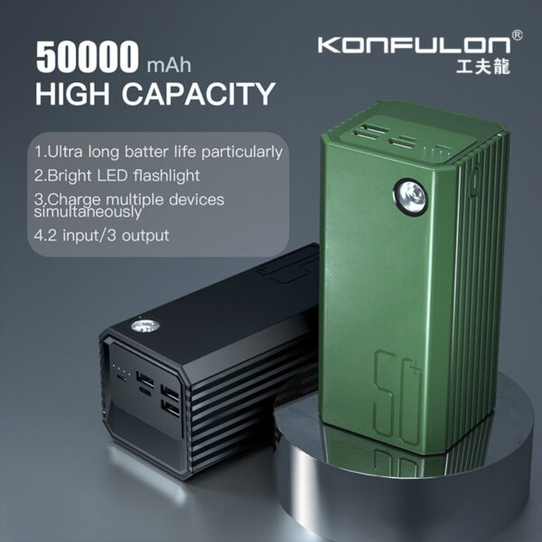Konfulon A22 Led Işıklı Powerbank 50.000 mAh - Yeşil
