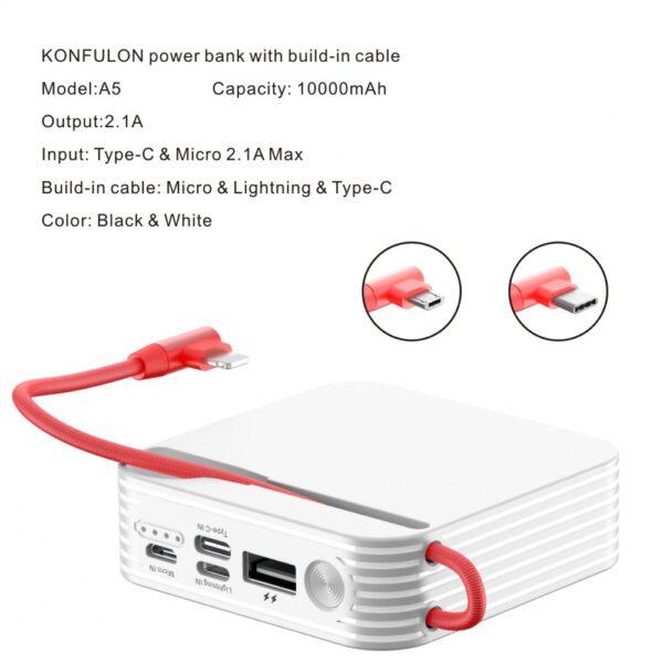 Konfulon A5 Micro USB Powerbank 10.000 mAh - Beyaz