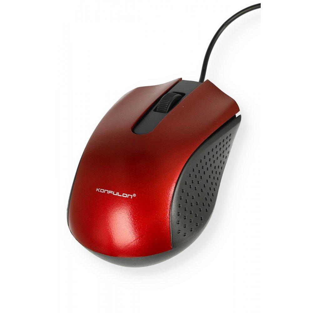Konfulon B300 Kablolu Optik Mouse - Kırmızı