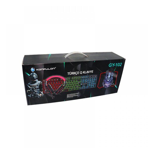 Konfulon GY102 Türkçe Q RGB Işıklı Gaming Klavye Mouse MousePad Oyuncu Kulaklığı 4in1 Set