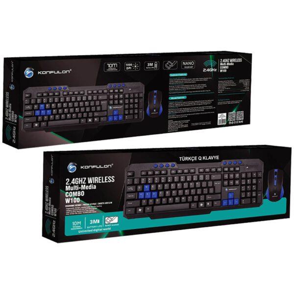 Konfulon W100 Türkçe Q Kablosuz Klavye Mouse Set